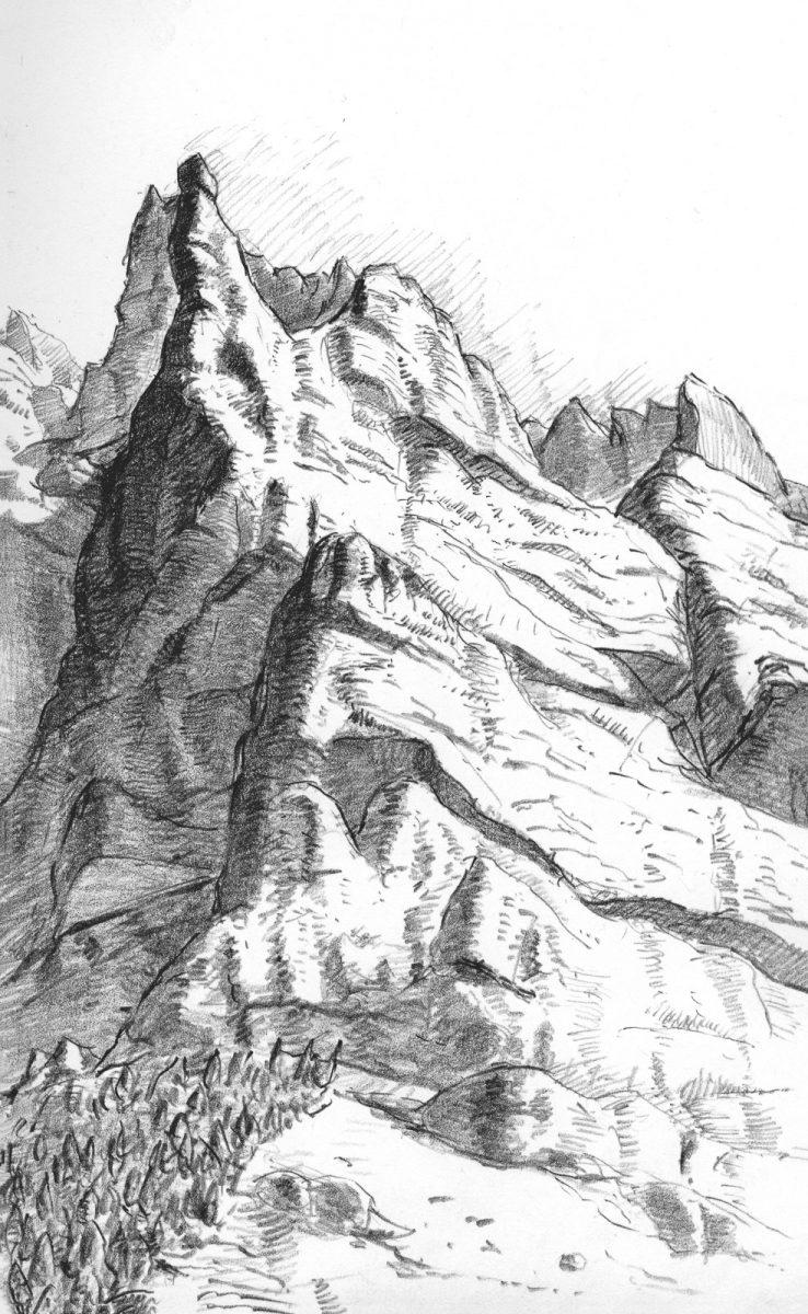 Drawing of Lauterbrunnen, Switzerland