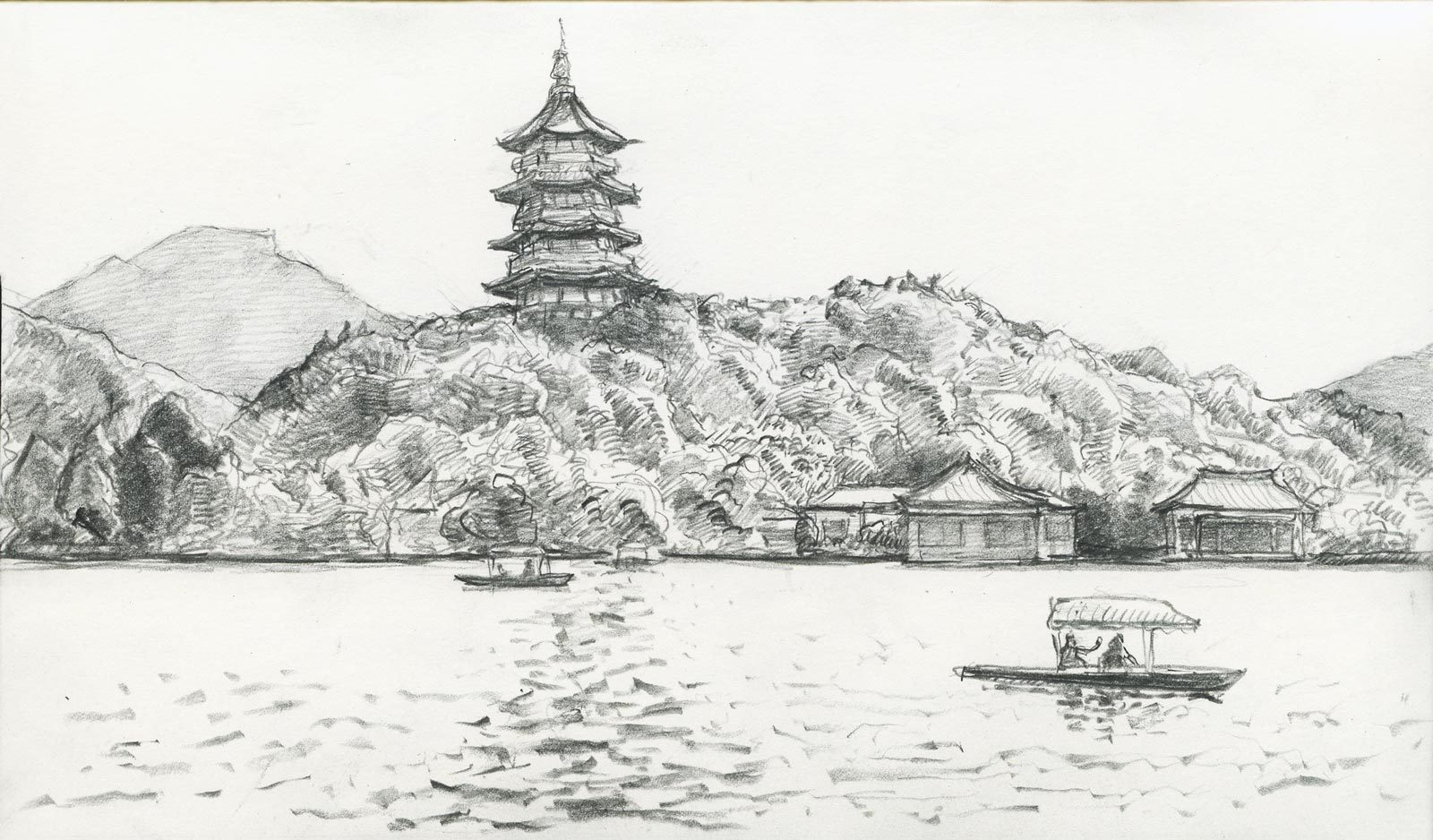 View of the Leifeng Pagoda, West Lake, Hangzhou, China